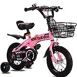 OFAY Bicicleta para Niños con Ruedas De Entrenamiento para 12 14 16 Bicicleta De 18 Pulgadas para Edades De 2 A 9 Años Niñas Y Niños, Bicicleta Plegable para Niños Pequeños,Rosado,12 Inches