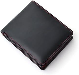 [Decoroso]  かっこいい大人の短財布 (馬革×牛革 CL-1220) (ブラック×レッド)