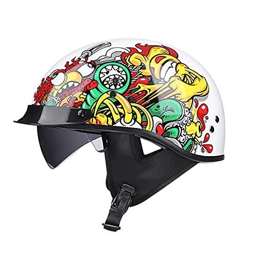 HSFJFDRT Fashion Motorcycle Sun Visor Half Helmet, Adult Open Face Helmet Classic Half Shell Helmet Scooter Moped Men and Women Light Street Cruiser Jet Style DOT Approved Helmet