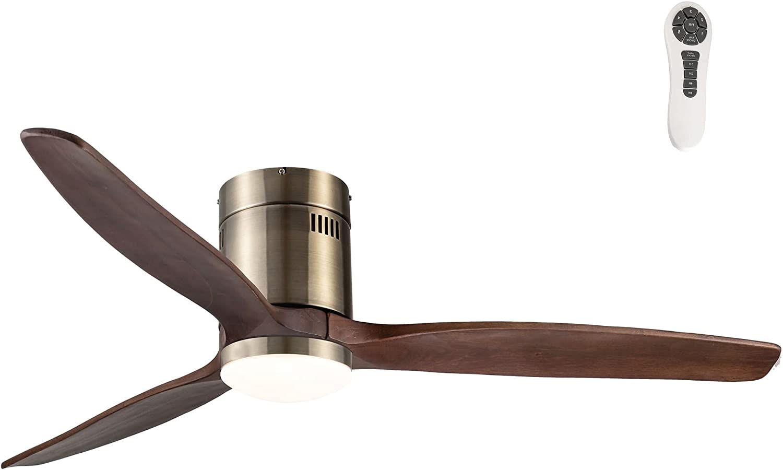 Wonderlamp - Ventilador de techo madera oscura con luz LED 15W Won, Silencioso, 3 temperaturas color, 5 velocidades, con Mando