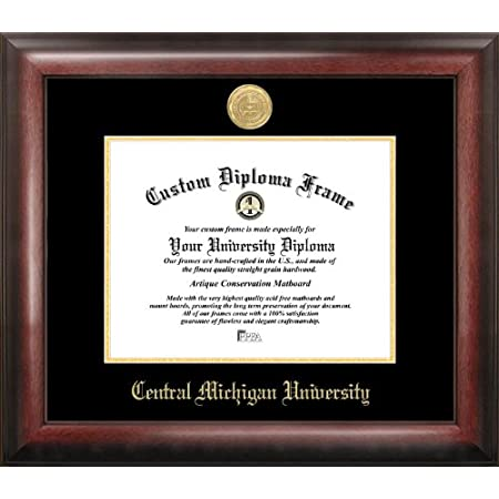 Ocm Diplomadisplay Traditional Frame For Central Michigan University 8 1 2 X 11 Diploma Certificates Maroon Yellow Mat Home Office Graduation Gift