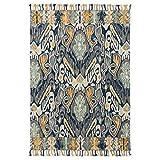 LMXJB 2×2,9M ÜBergrößE Traditioneller Teppich | Vintage Distressed Old Blume Spleiß Geometrisches Diamantmuster Mit Quaste Dekor | Reiner Handweb-Teppich Aus 80% Advanced Wool,NavyBlue
