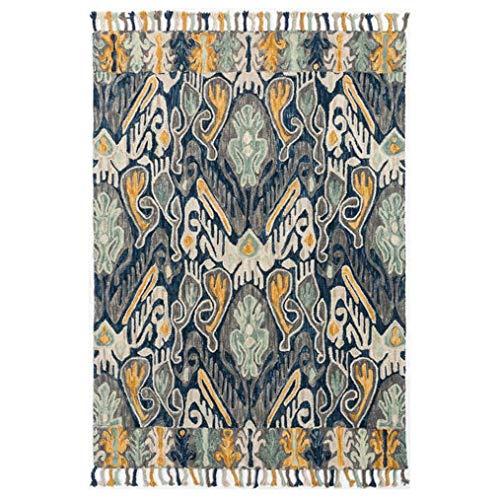 LMXJB Traditioneel tapijt, 2 x 2,9 m, vintage gestressed old, bloem splijt, geometrisch diamantpatroon met kwastdecoratie, zuiver handgeweven tapijt van 80% Advanced Wool marineblauw