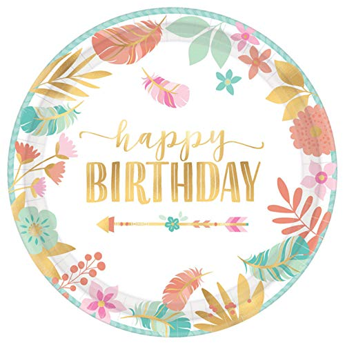 amscan Boho Happy Birthday Disposable Round Paper Plates, 10.5'- 8 pcs, Multicolor, One Size
