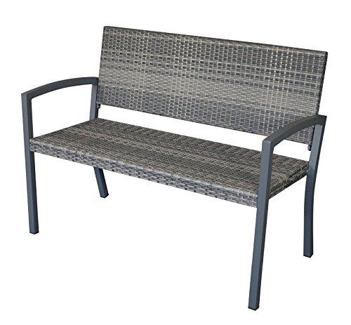Gartenbank 2-sitzer, Gestell Aluminium dunkelgrau, Bespannung Polyrattan Geflecht grau Bicolor