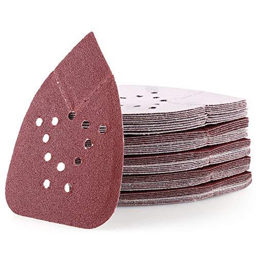Sanding Pads for Black and Decker Mouse Sanders, 50PCS 80 Grit Hook and Loop Sandpaper Sheets - LotFancy 12 Holes Detail Palm Sander Sand Paper