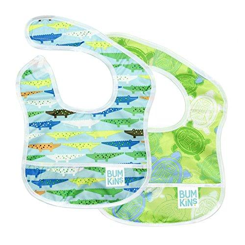 Bumkins ST2-680/913 Starter Bib, Baby Bib Infant, Waterproof, Washable, Stain and Odor Resistant, 2-Pack – Crocodiles & Turtles, Blue Crocs And Turtles, 3-9 Months