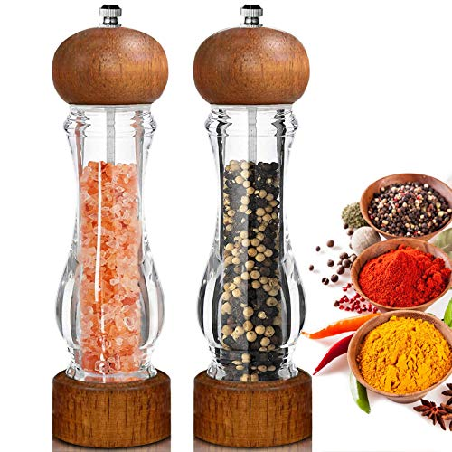 Salt and Pepper Grinder, Large Salt and Pepper Shakers Set of 2, Refillable Spices Mill with Wooden Lid, Acrylic Body & Adjustable Ceramic Rotor for Black Peppercorn, Sea Salt, 8.5 Inches, Red Brown
