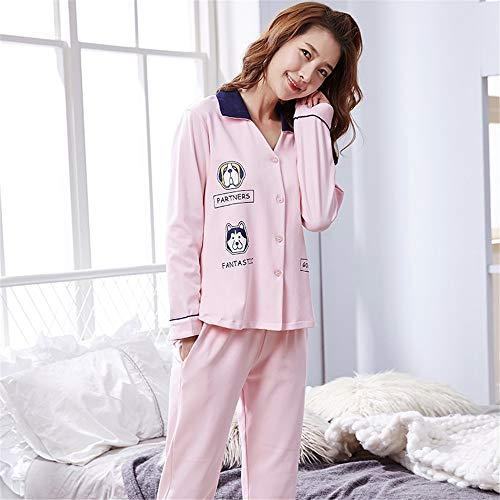 baijuxing Pajamas Pajamas Women Spring and Autumn Comfort 100% Cotton Long Sleeve Pants Cardigan Cute Cartoon Pajamas Home Service 2 Piece Set, XXL