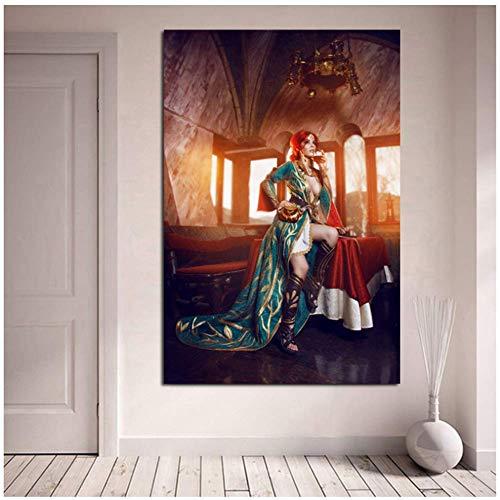 wzgsffs Triss Merigold Cosplay Disharmonica Leinwand Malerei Drucke WohnzimmerWohnkulturModerneWandkunstMalerei Poster-60x80 cm Kein Rahmen