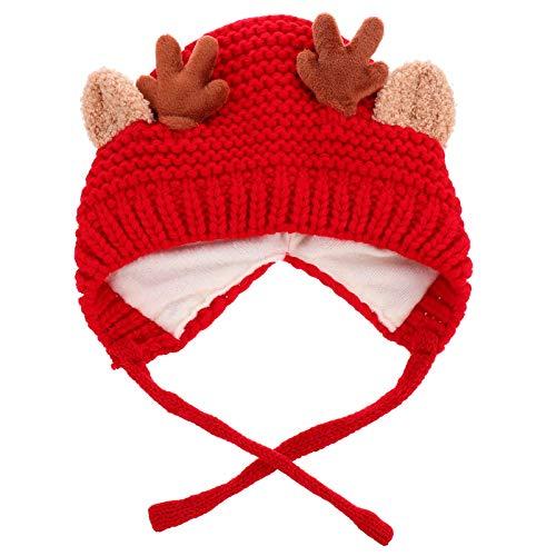 Tomaibaby Reno Cornamenta Bebé Gorro de Invierno para Navidad Niños Niño Cálido Crochet Tejido Beanie Cap with Ear Flap Elk Horn Forro de Lana Gorra para Niños de 2-6 Años Rojo