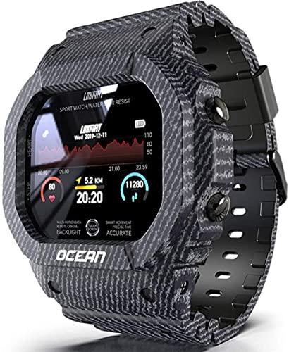 Reloj deportivo digital inteligente impermeable para hombre militar, cuenta regresiva/temporizador/alarma resistente a los golpes analógicos que corren el reloj de pulsera de los hombres-negro