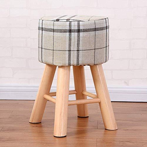 Paddia Fashion Massivholzhocker Ankleidebank Arbeitszimmer Home Esszimmerstühle Tisch Kleine runde Kurze Couchtisch Sofa Erwachsene Wohnzimmer Haushalt Wickelschuhe Hocker (Farbe: Gitter)
