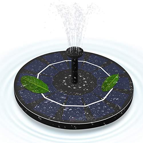 ALLOMN Fuente Solar, Jardín Flotante Bomba de Agua solar de 50 cm de Altura, 4 Cabezas de Boquillas Diferentes, 3 Ventosas, Impermeable IPX8, 1.8W para Plantas de Jardín Riego en Estanques de Piscinas