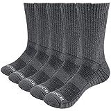YUEDGE 5 Pares Algodón Deporte Termicos Calcetines para Hombre Calcetines de Montaña Senderismo Trekking Alto Rendimiento Gruesos Transpirable Trabajo Botas Calcetines Gris L