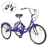 KUNS Adult Tricycle Trikes Single Speed 3-Wheel Bikes,24 Inch Wheels Cruiser Bicycles with Large Shopping Basket