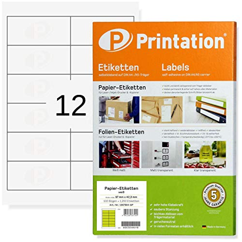 Universal Internetmarke Adressetiketten 97 x 42,3 mm selbstklebend blanko weiß bedruckbar - 1200 Labels/Etiketten auf 100 DIN A4 Bogen 2x6 - Adressaufkleber 4623 5056 LA140 3659 4781