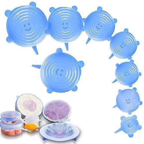 LITZEE 7 Pcs Couvercles Silicones Alimentaires, Couvercle Extensible Universel en Silicone sans BPA, 7 Tailles Différentes pour Micro-Ondes Four Frigo Lave-Vaisselle-Bleu