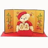 【プティルウ】還暦に贈る、赤いちゃんちゃんこを着た干支のメモリアルベア(金屏風) 2016 さる