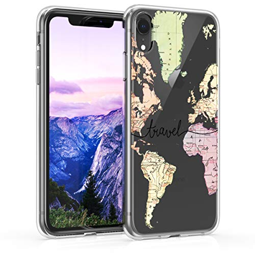 kwmobile TPU Silicone Case Compatible with Apple iPhone XR - Crystal Clear Smartphone Back Case Cover - Travel Black/Multicolor/Transparent
