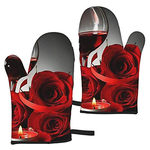 VBHGHFF Manopla de horno para copas de vino rojo y vela, guantes modernos para microondas, barbacoa, horno, horno, ollas de cocina, resistentes al calor (juego de 2 manoplas)