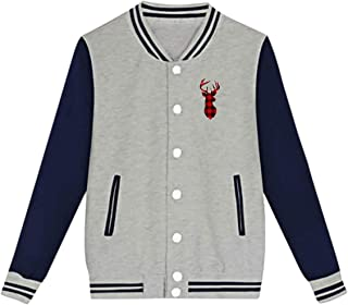 WFIRE Baseball Jacket Buffalo Plaid Deer Custom Fleece Varsity Uniform Jackets Coats for Youth