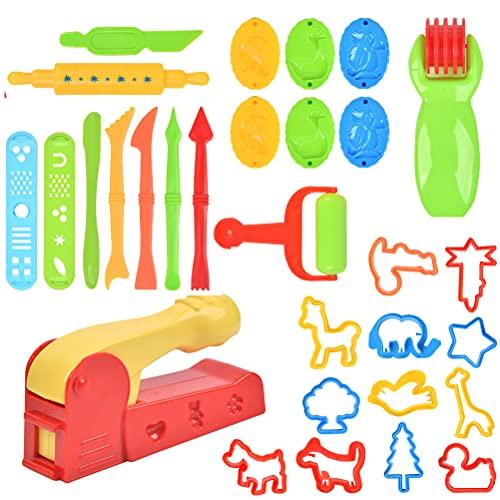 TIMESETL 30 Pezzi Utensili per Plastilina, di Accessori per Giocattoli Colorati, Stampi per Pasta di Argilla per Bambini in Plastica, Colore Casuale, Grandi Regali per Bambini sopra i 7 Anni