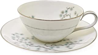 Noritake Pineville 5854 White Green Silver Cup and Saucer