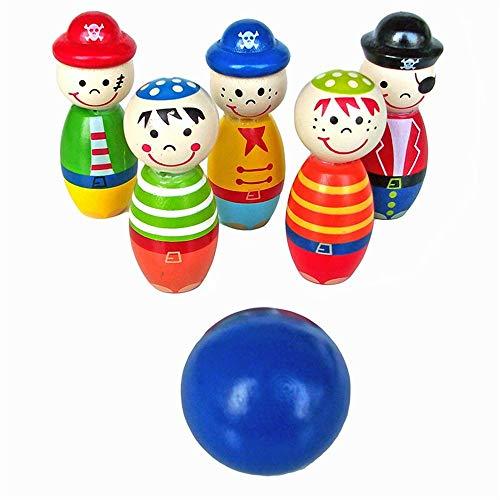 WyaengHai Bowling Spielzeug Innen- Und Außenkinderspiel Niedlich Aus Holz Bowling Set Von Freunden Kinder Spieleset Fünf Hölzerne Stifte Bowling Und Eine Kugel Bowling Set
