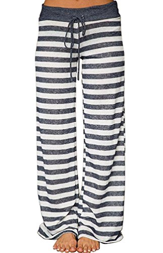 AMiERY Pajamas for Womens Lounge Pants Women's Casual Pajama Pant High Waisted Wide Leg Palazzo Pants for Women Joggers Pants Striped Trousers (S, Grey Striped)