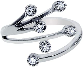 Sterling Silver With Rhodium Finish Shiny By Pass Like Toe Ring With 6-Cubic Zirconia