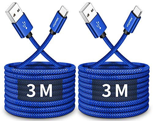 CLEEFUN Cable USB C Largo [3m 2pack], Duradera 3A Cable USB Tipo C Carga Rápida para Samsung S10 S9 S8 S20 Plus, Xiaomi Redmi 9/Note 9 Pro/Note 8 Mi Note 10 y más