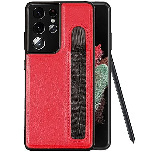 DNGN - Custodia per Samsung Galaxy S21 Ultra compatibile con S-Pen integrata, in pelle PU con supporto per penna [solo custodia non inclusa] (rosso)