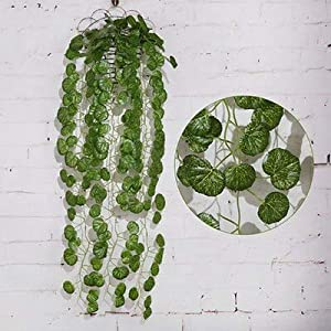 Artificial and Dried Flower Green Leaf Artificial Ivy Leaf Garland Plants Vine Fake Foliage Flowers Wedding Home Wall Hanging Decorative Flower Leaves