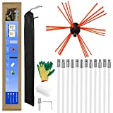Bluesea 39ft Chimney Cleaning Brush Kit,Electrical Drill Drive Sweeping Cleaning Tool Kits with Nylon Flexible Rods,Includes Trim-to-Fit Spinning Chimney Whip (12 Rods)