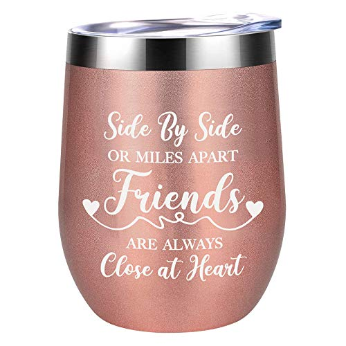 YouFangworkshop Friends Are Always Close at Heart - 12 oz Rose Gold Insulated Stainless Steel Wine Mug Tumbler with Lid, Friendship Present for Best Friend Sister, Birthday Christmas Wine Glass