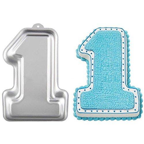 WJSYSHOP 11 Inch Number One 1 Shaped Aluminum 3D Cake Mold Baking Mould Tin Cake Pan