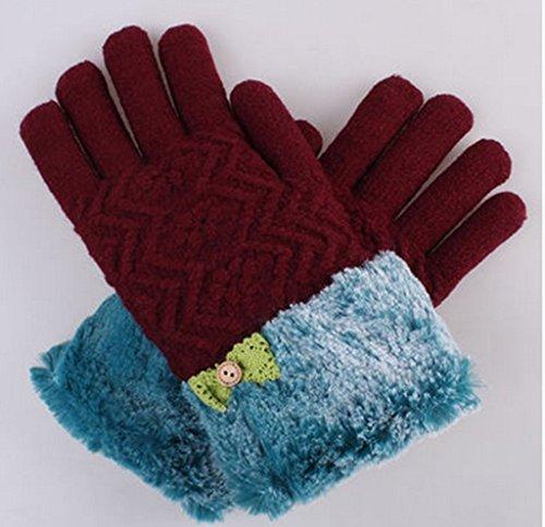 Gloves-zx Guanti Pulsante Inverno Femminile Lovely Bow Modo più Il Velluto Che Ispessisce Freddo Giro Tenere Guanti Caldi (Colore : C.)