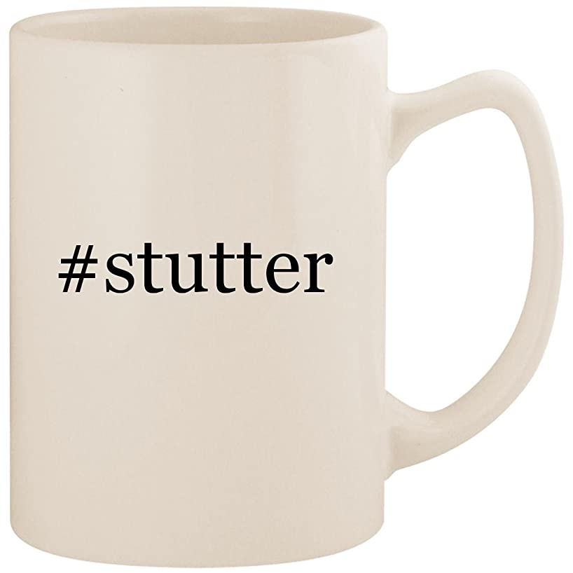 #stutter - White Hashtag 14oz Ceramic Statesman Coffee Mug Cup