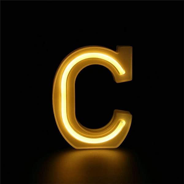 Shisay 迷你 LED 跑马灯字母灯 26 个字母点亮塑料跑马灯数字字母标志婚礼生日派对电池供电圣诞灯夜灯家用酒吧装饰 C