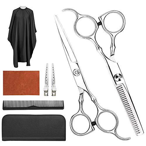 8 Pcs Hair Cutting Scissors Set, Professional hair scissors for Hairdressing, Thinning, With Flat Shears, Teeth Shear, Comb,Salon Cape,Hair Clip, Shear at Home Salon