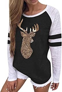 Ladies Christmas Deer Bling Sequin Applique Round Collar Blouse Leisure Pullover Tops