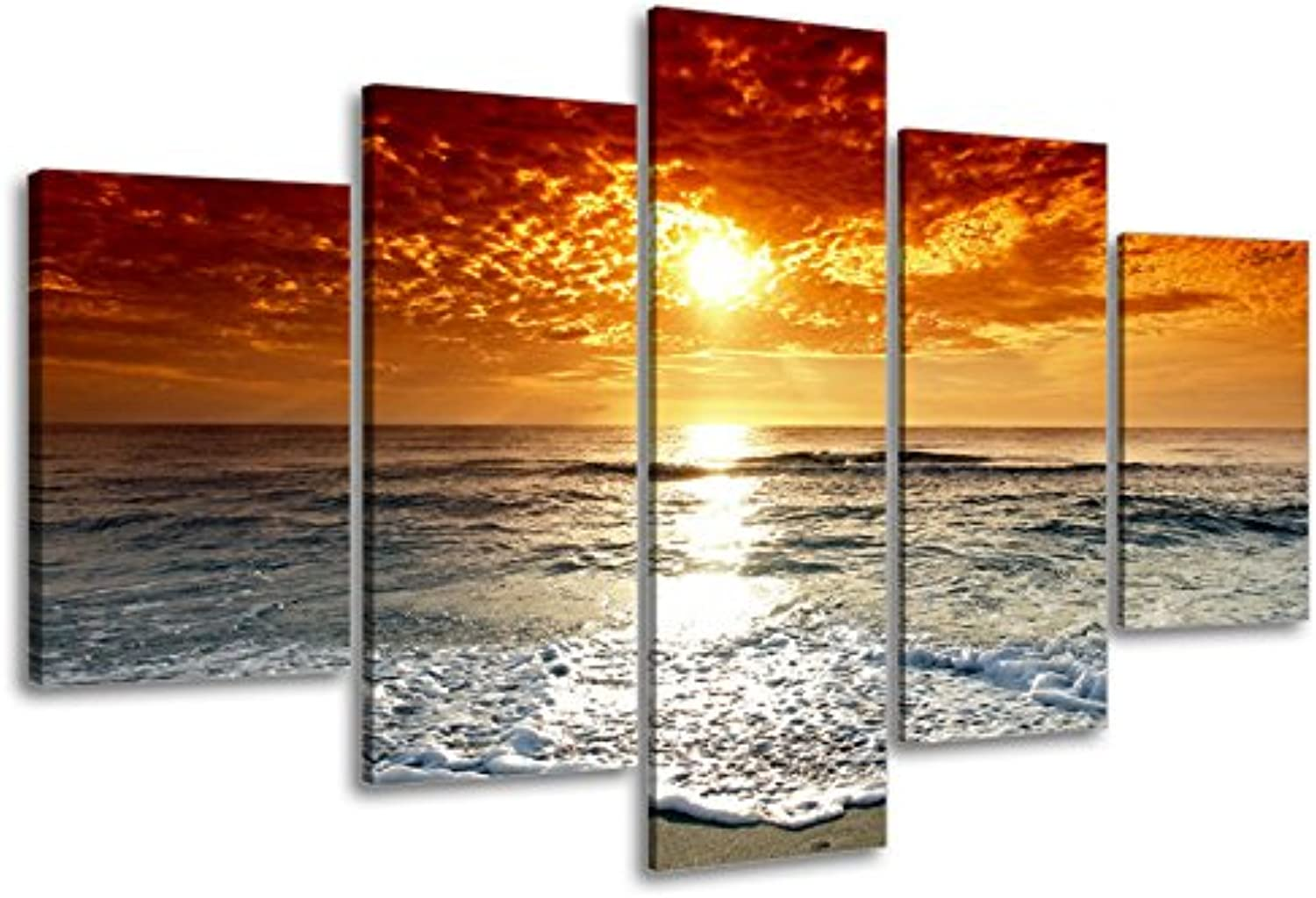 Ocean Pictures, SZ 5 Piece Beautiful Sunset Canvas Wall Art, Cloudy Seascape Canvas Prints for Living Room, Ready to Hang, 1  Deep, Waterproof, Large, Not Cut on Sun