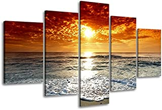 Ocean Pictures, SZ 5 Piece Beautiful Sunset Canvas Wall Art, Cloudy Seascape Canvas Prints for Living Room, Ready to Hang, 1