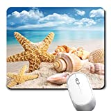 Yaxazepluy - Sand Shell Starfish and Seashells Mouse Pad, Gaming Rectangle Mousepad for Computer Laptop Non-Slip Rubber Desk Mat,Cute Office Gift (9.5 X 7.9 Inch)