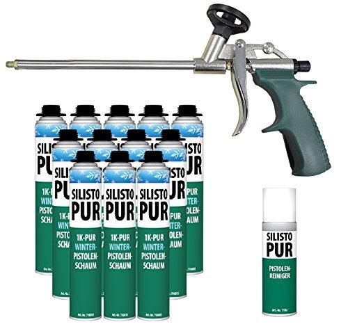 silisto pur 1 K hiver Pistolet mousse 12 x 750 ml jusqu'à -10 °C verarbeitbar + Pistolet type slim + Mousse Nettoyant 500 ml