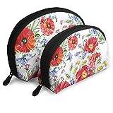 Ramos de flores de prado acuarela portátil bolsa de embrague bolsa de cosméticos bolsa de almacenamiento de viaje Shell forma cosméticos almacenamiento