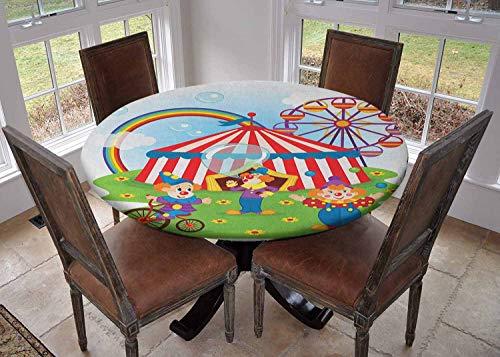 Ronde tafelkleed keuken decoratie, tafelblad met elastische randen, Circus Performance Fun Atleet en Dieren Paard Heavy Lifting Themed Kleurrijke Print Multi kleuren, Kleurrijk tafelkleed
