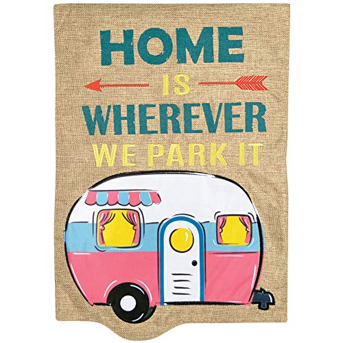 Camper Trailer Garden Flag -Home is Where We Park It Home Garden Flag 12x18 - Summer Garden Flags