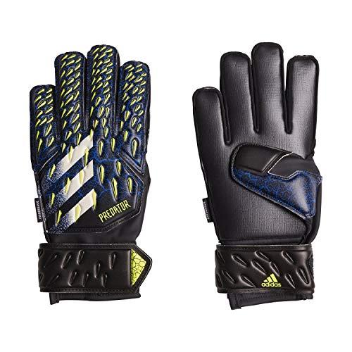 Adidas Predator 20 Match FINGERSAVE, guanti da portiere da bambino, nero/blu reale, giallo solare/bianco, 5